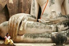 duży Buddha dziewczyny sukhothai Thailand Zdjęcie Stock