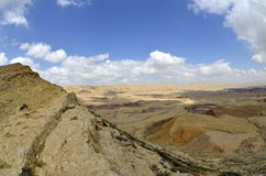 Duży krater w pustynia negew. Obraz Royalty Free