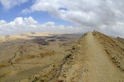 Duży krater w pustynia negew. Zdjęcie Royalty Free