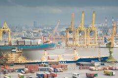 Duży portowy Petersburg, widok z lotu ptaka Zdjęcie Royalty Free
