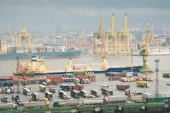 Duży portowy Petersburg, widok z lotu ptaka Fotografia Royalty Free