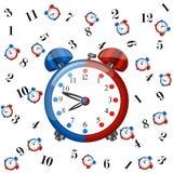Duży redblue budzik z wzory coloured zegarami Obraz Stock