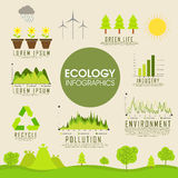 Duży set ekologia infographic elementy Obrazy Stock