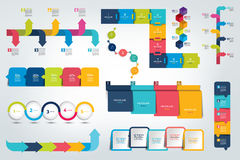 Duży set Infographic linii czasu raport, szablon, mapa, plan