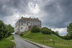 Duży stary ciemny antyczny kasztel na wzgórzu w wiosce nie daleko od Lviv miasta Fotografia Stock