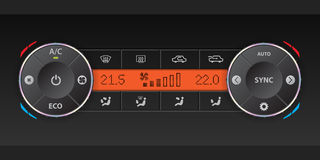 Dual air condition dashboard design. Digital air condition dashboard design with dual ac and orange lcd vector illustration
