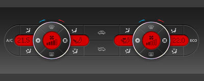Dual air condition design with red lcd. Digital dual air condition dashboard design with red lcd royalty free illustration