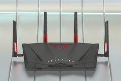 Dual-Band Wireless internet router, 3D rendering. Isolated on silver background Royalty Free Stock Photography