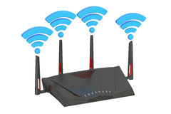 Dual-Band Wireless internet router, 3D rendering. On white background Stock Photo