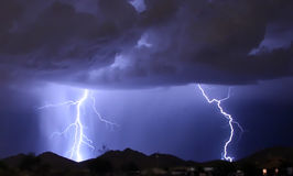 Dual Bolts Over Mountain Stock Photography
