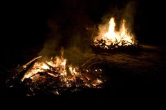 Dual bonfires Stock Images