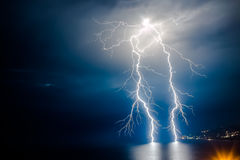 Dual bright lightning stock photo