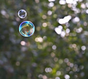Dual bubbles flying in the air Royalty Free Stock Photography