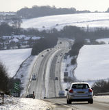 Dual carriageway highway during winter in England UK Royalty Free Stock Photo