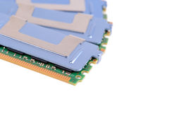 Dual-channel kit of high performance computer memory on a white background with pretty shadows Royalty Free Stock Images