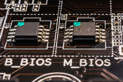 Dual chip BIOS close-up. Compiter basic input output system, view close-up Royalty Free Stock Image