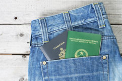 Dual citizenship blue collar worker concept Stock Photos