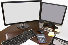 Dual computer monitors Stock Photography