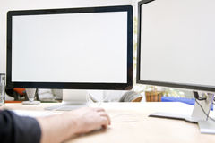 Dual computre screen for presentations and mockups Royalty Free Stock Photos