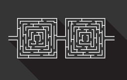 Dual difficult and long maze educational game like glasses black.  Royalty Free Stock Image