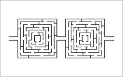 Dual difficult and long maze educational game like glasses white Stock Photography