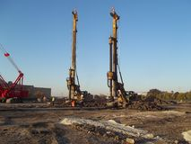 Dual Drill Rigs Stock Photography