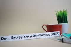 Dual-Energy Xray Densitometry DEXA text, grass pot, coffee cup, syringe, and face green mask. Healtcare/Medical and Business concept stock image