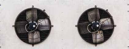Dual Fans of Air Condensing Unit. On White Background Stock Images