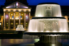 Dual Fountains at Kurhaus in Wiesbaden, Germany. Wiesbaden is one of the oldest spa towns in Europe. Its name literally means meadow baths. At one time royalty free stock photography