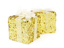 Dual gold gift Royalty Free Stock Image