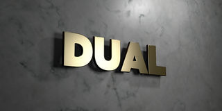 Dual - Gold sign mounted on glossy marble wall  - 3D rendered royalty free stock illustration. This image can be used for an online website banner ad or a Royalty Free Stock Photography