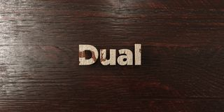 Dual - grungy wooden headline on Maple  - 3D rendered royalty free stock image. This image can be used for an online website banner ad or a print postcard Stock Images
