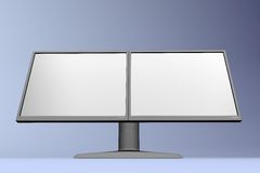 Dual LCD display. Black multimedia dual LCD display royalty free illustration