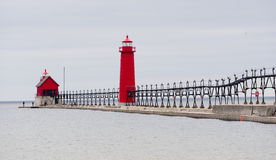 Dual Lighthouses Grand Haven Nautical Markers Lake Michigan Stock Photo