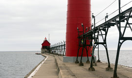 Dual Lighthouses Grand Haven Nautical Markers Lake Michigan Royalty Free Stock Photos