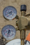 Dual pressure gauges of oxy acetylene tanks Royalty Free Stock Photo