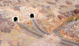 Dual Railroad Tunnels Stock Photo