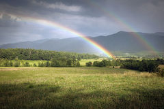 Dual Rainbows Over Cades Cove In Smoky Mountain National Park Royalty Free Stock Photography
