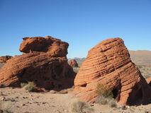 Dual Red Rock Formations Stock Photo