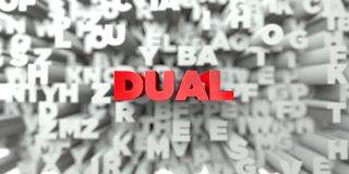 DUAL -  Red text on typography background - 3D rendered royalty free stock image. This image can be used for an online website banner ad or a print postcard Royalty Free Stock Images