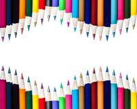 Dual Rows of Color Pencils Background Stock Image