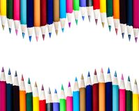 Dual Rows of Color Pencils Background Royalty Free Stock Image