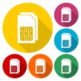 Dual SIM cards icons set with long shadow. Vector icon Royalty Free Stock Photos