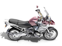 Dual-sports motorcycle close-up. On a light background Royalty Free Stock Photos
