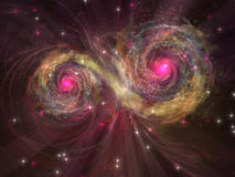 Dual Star. Two large stars dance around each other as one engulfs the other Royalty Free Stock Image