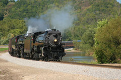 Dual Steam Train. Two steam train locomotives lead a passenger excursion Royalty Free Stock Photos