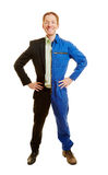 Dual studies or career choice konzept. With a man dressed half blue collar worker and half businessman Royalty Free Stock Photography