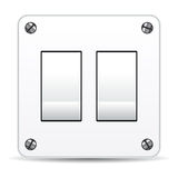 Dual switch. Dual light switch isolated over white background Royalty Free Stock Images
