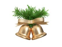 Dual-twin metallic gold christmas bell ribbon green christmas tree leaf 3d rendering stock illustration
