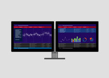 Dual two monitor stock transaction terminal Royalty Free Stock Images